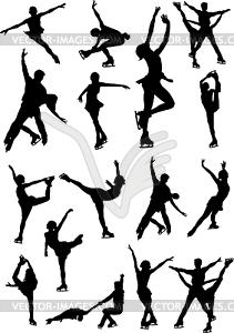 Set von Eiskunstläufern - Vektor-Klipart