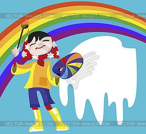 Девушка - художник рисует радугу - векторный клипарт