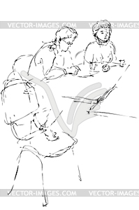 Sketch two women at table in an office work - vector clipart