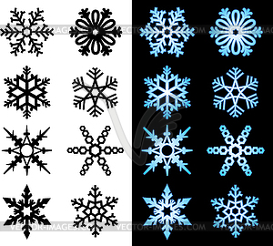 Серия графических симметричной формы снежинки.  - Векторная графика EPS от $0.95 за изображение.