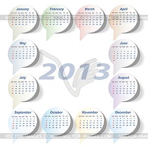 Kalender 2013 Woche Beginnt Am Sonntag Vektor Clipart