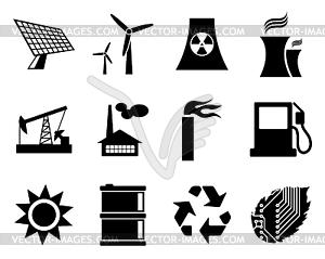 Strom, Leistung und Energie - Set von Icons - Vektor-Clipart / Vektor-Bild