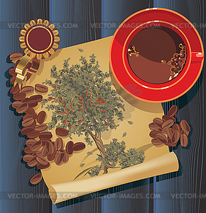 Coffee tree, graphic - vector EPS clipart