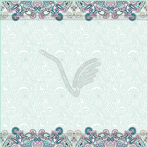Ornate floral background with two ornament stripe - vector image