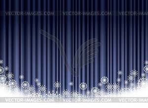 weihnachten blauen vorhang hintergrund mit schneeflocken. Black Bedroom Furniture Sets. Home Design Ideas