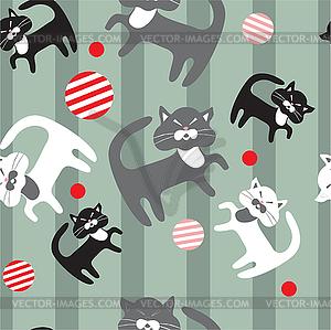Nahtloses Muster von Katzen - Vector Clip Art