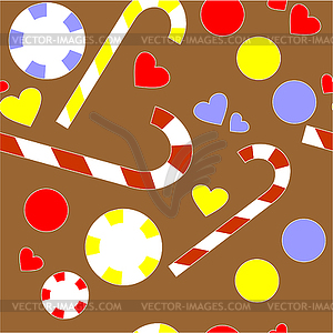 Nahtlose Ornament Lebkuchenhaus  - farbige Vektorgrafik