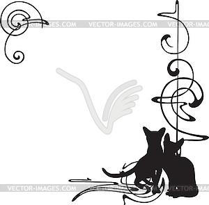 Rahmen mit einem Muster und Katzen - Vektor-Klipart