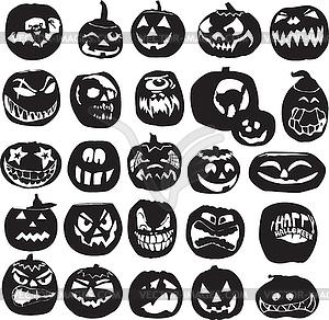 Silhouetten der Halloween-Kürbissen - Vektor-Design