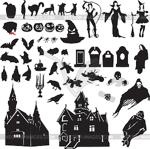 Satz von Silhouetten symbolisierend Halloween - Vektor-Clipart / Vektor-Bild