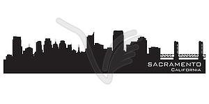 Sacramento, Kalifornien - Skyline. Detaillierte silhouette - Vector Clip Art