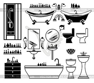 Set Of Black Icons Of Bathroom Vector EPS Clipart