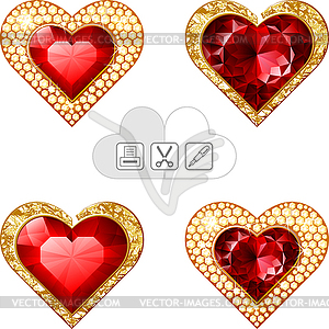 Valentine s hearts jewelry - vector clip art