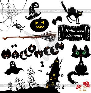 Set der Halloween-Elemente - Kürbis, Fledermaus, Gespenst - Vector-Clipart EPS