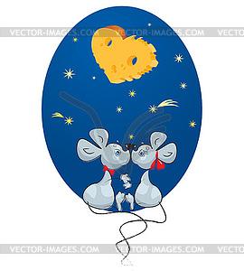 Valentine `s Day Konzept: Karikatur Male Maus und - Clipart-Bild