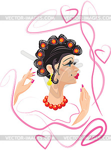Lustige Frau Karikatur mit Lockenwickler - Vektor-Bild