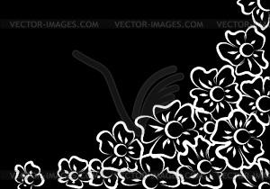 Белые цветы на черном фоне клипарт в