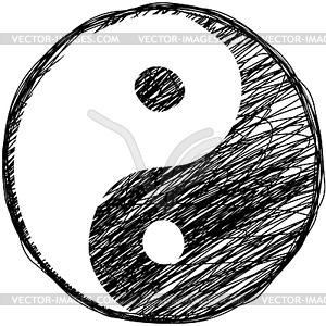 Gekritzel-Skizze - Yin-Yang-Symbol - Stock Vektor-Clipart
