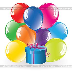 Haufen von bunten Luftballons und Geschenk-Box - vektorisiertes Bild