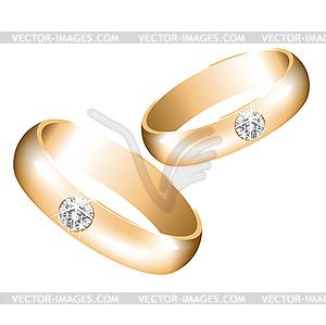 Goldene Hochzeit Ringe mit Diamanten - vektorisiertes Clip-Art