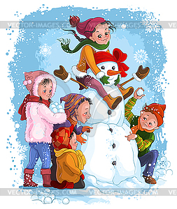 Зимние игры дети и снеговик
