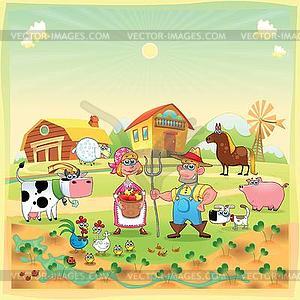 Farm Family - vector clip art