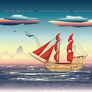 Segelschiff auf See - Vektor-Skizze