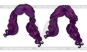 Lockiges Haar des lila Farbe - vektorisiertes Clip-Art