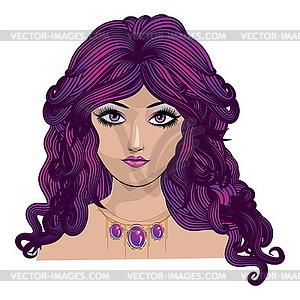 Mädchen mit lila Haaren - farbige Vektorgrafik