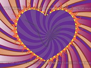 Lila Strahlen Hintergrund mit Herz - farbige Vektorgrafik