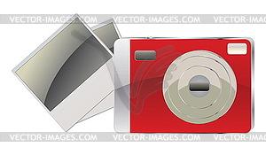 Red Digitalkamera und Fotokarten - Vektor-Clipart EPS