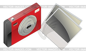 Red Digitalkamera und Fotokarten - Vector-Clipart / Vektor-Bild