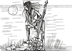 Amazone mit Schwert in der Nacht - Vektor-Clipart / Vektorgrafik