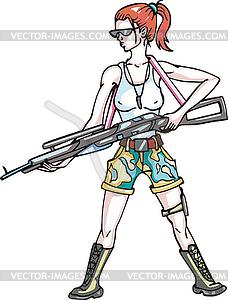 Gefährliche bewaffneten Mädchen mit Riffelung - Vector-Illustration