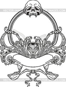 Jugendstil-Rahmen mit Totenkopf - Vektor-Klipart