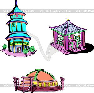 Asiatischen orientalischen Tempel - Vector-Clipart / Vektor-Bild