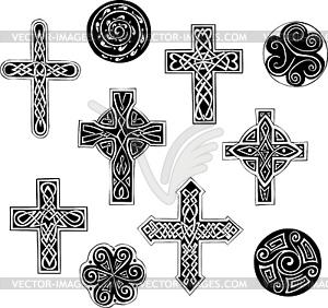 Keltische Knoten - Kreuze und Spiralen - Vector-Design
