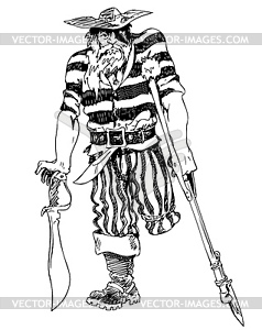 Alter einbeiniger Pirat - Vektor-Bild