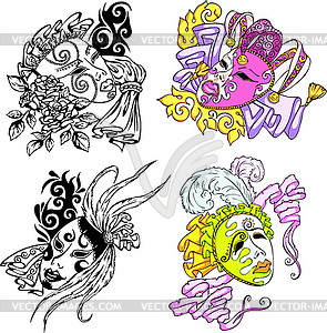 Venezianische Karnevals-Masken - Stock Vektor-Bild