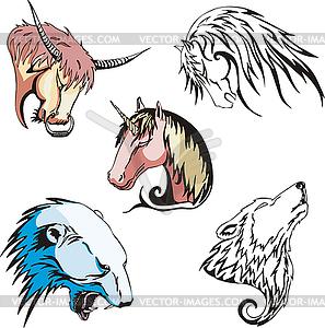 Köpfe von Wolf, Eisbär, Einhorn, Pferd und Stier - Stock Vektor-Bild