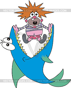 Großer Fisch und kleiner Clown - Vektor-Skizze
