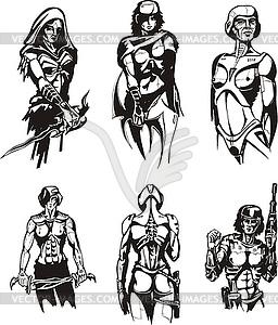 Amazon Cyborgs - schwarzweiße Vektorgrafik