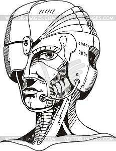 Leiter des Cyborg-Frau - Stock-Clipart