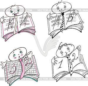 Schulbuch Karikaturen - Vector-Abbildung