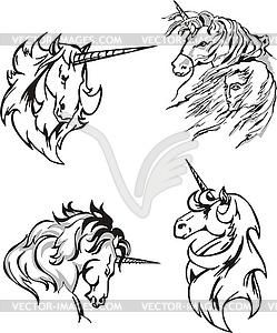 Vier Skizzen der Einhörner - schwarzweiße Vektorgrafik