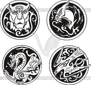 Stilisierte runden Tiermotiven - Vector-Illustration