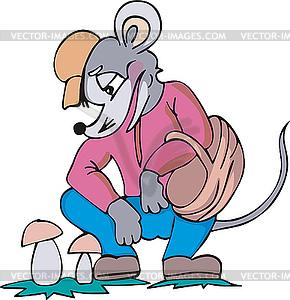 Maus Pilzsammler Cartoon - vektorisiertes Clipart
