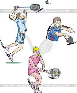Tennis und Badminton - Stock Vektorgrafik
