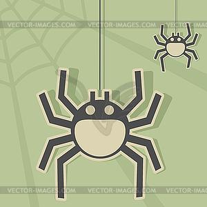 Два веселья паука плести паутину Векторный клипарт ID 3757001.