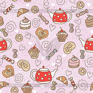 Nahtlose Muster mit Süßigkeiten - Royalty-Free Clipart
